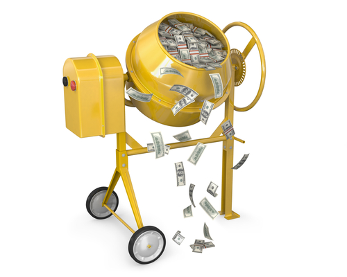 Bild: Concrete mixer full of dollars with falling banknotes isolated on white background, Zelfit, shutterstock 86086330